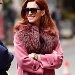 Lexi TV Series Modern Love Anne Hathaway Pink Coat with Fur Collar