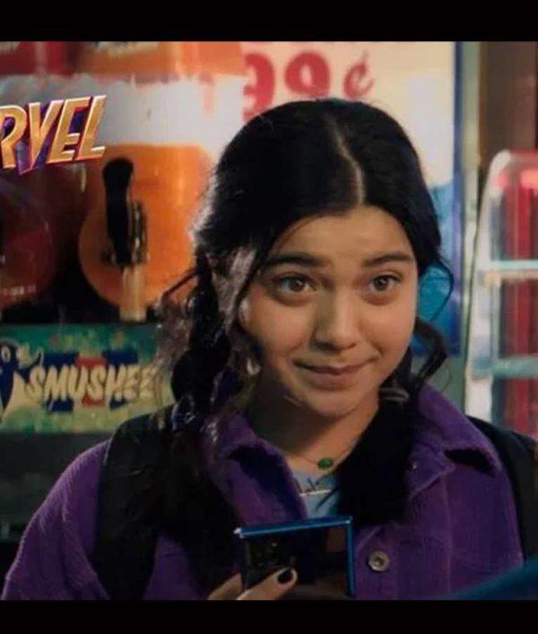 Ms. Marvel 2021 Kamala Khan Corduroy Jacket   Iman Vellani Purple Jacket