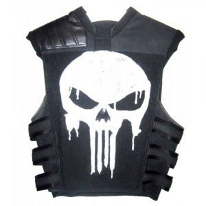 Punisher War Zone Ray Stevenson Black Leather Skelton Vest