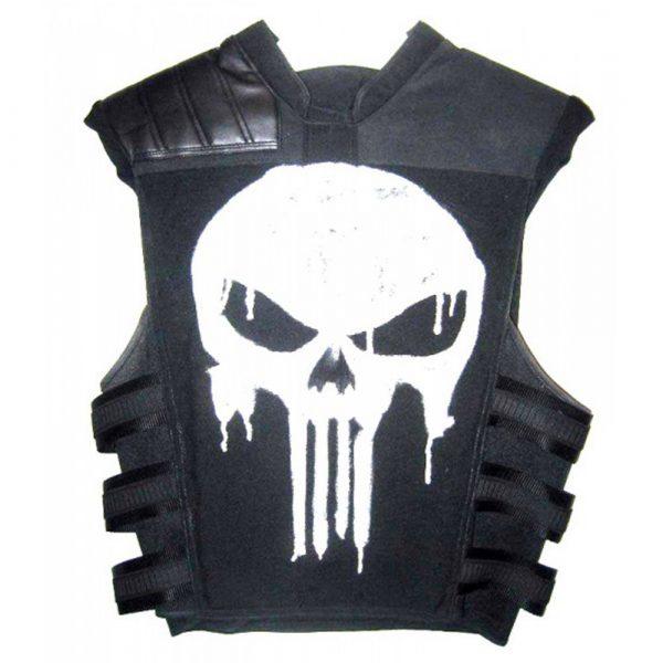 Punisher War Zone Ray Stevenson Black Leather Skelton Vest