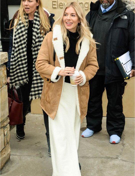 Sienna Miller Shearling Coat1