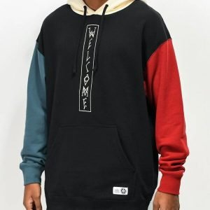Black, Blue & Red Welcome Pullover Hoodie