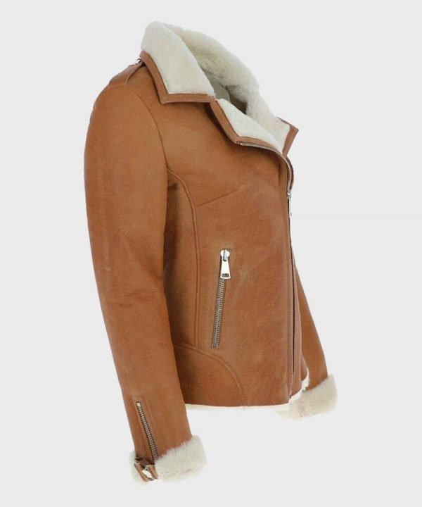 Womens Tan Brown Shearling Jacket