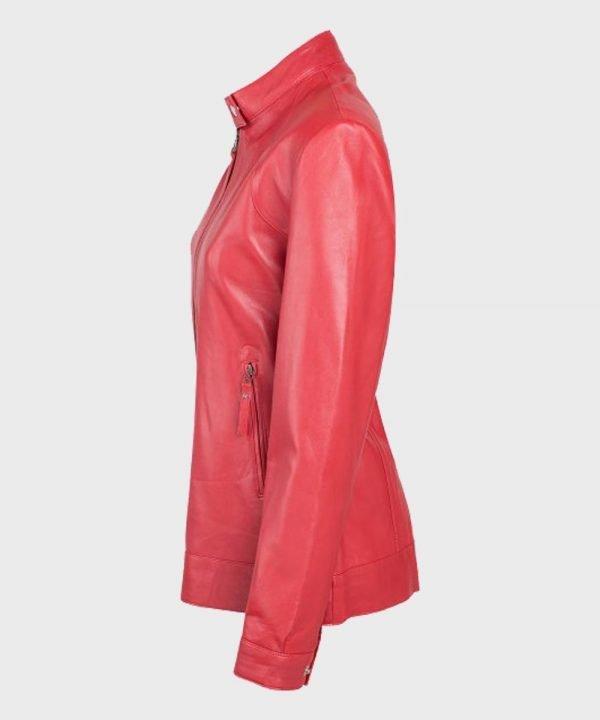 Cafe Racer Womens Red Leather Biker Jacket