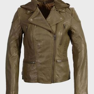 Classic Womens Motorcycle Olive Leather Hooded Jacket