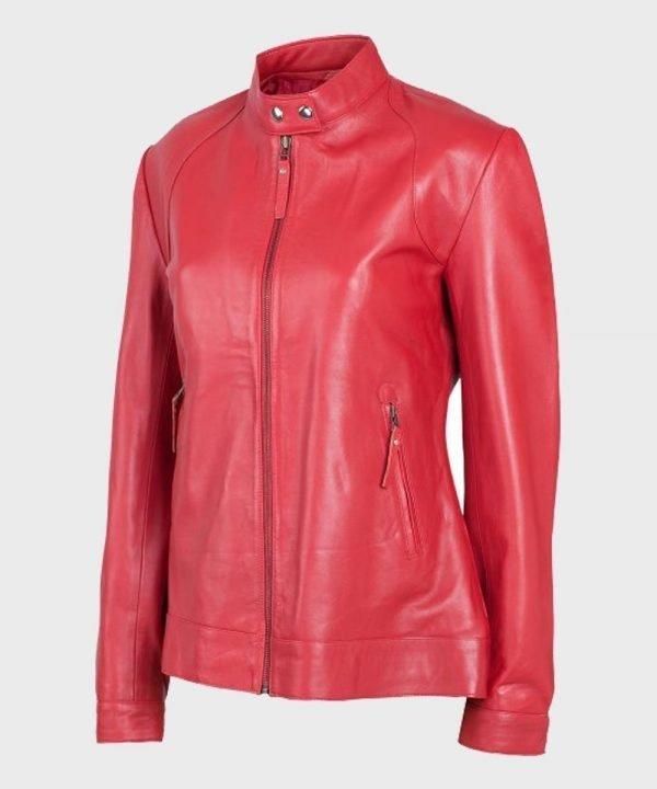 Womens Biker Red Stylish Leather Jacket