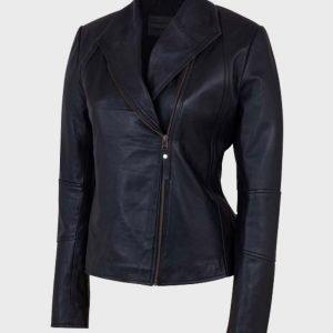 Asymmetrical Shawl Collar Black Leather Jacket for Womens