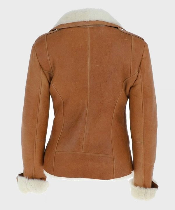 Womens Tan Brown Shearling Leather Jacket