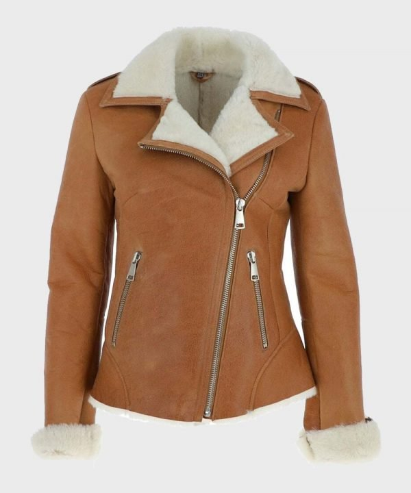 Womens Asymmetrical Sheepskin Tan Brown Shearling Leather Jacket