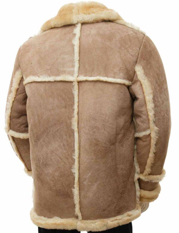 mens brown sheepskin leather coat