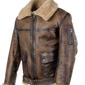 Men Arnold Schwarzenegger Aviator RAF B6 Shearling Jacket