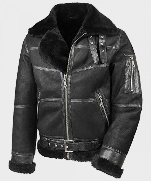 Mens Aviator B16 Sheepskin Jacket   Shearling Leather Jacket Mens