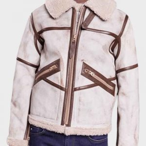 Mens Aviator White Waxed Shearling Leather Jacket - Free Shipping