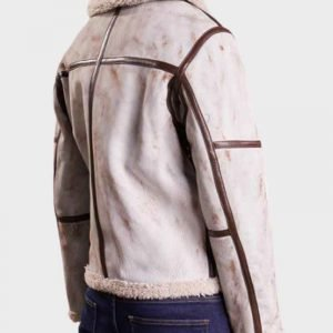 Mens Aviator White Waxed Shearling Leather Jacket