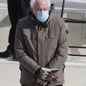 Brown Cotton Bernie Sanders Jacket With Hood