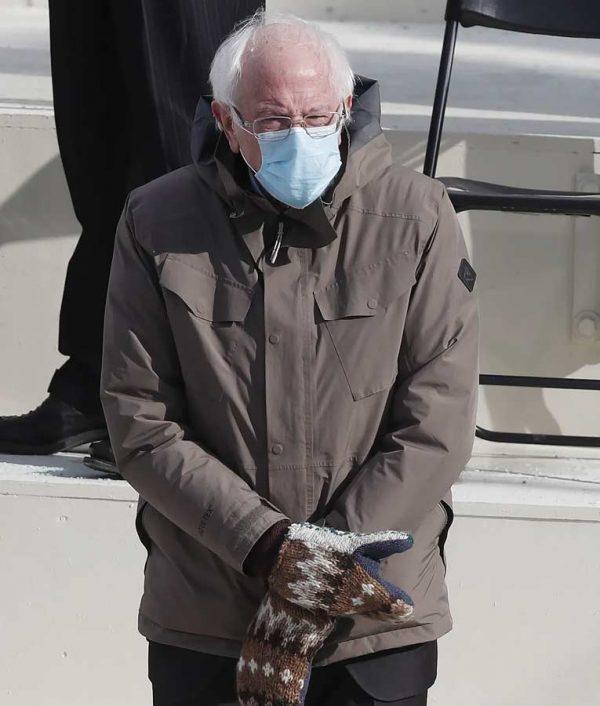 Brown Cotton Bernie Sanders Jacket With Hood