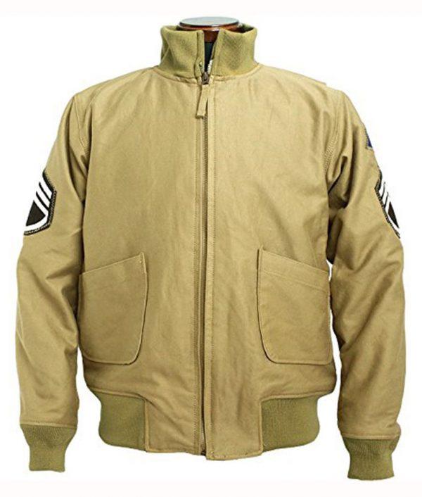 Brad Pitt WW2 Fury Tanker Bomber Khaki Jacket
