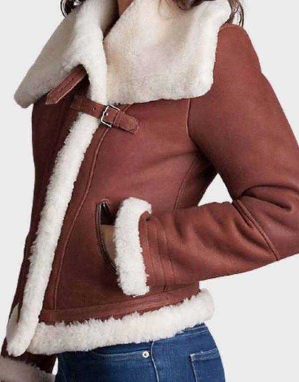 Women's Brown Sheepskin Fur Shearling Jacket