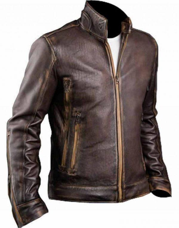 Men's Cafe Racer Distressed Leather Jacket