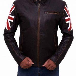 UK Flag Cafe Racer Leather Jacket | Vintage UK Flag Brown Leather Jacket