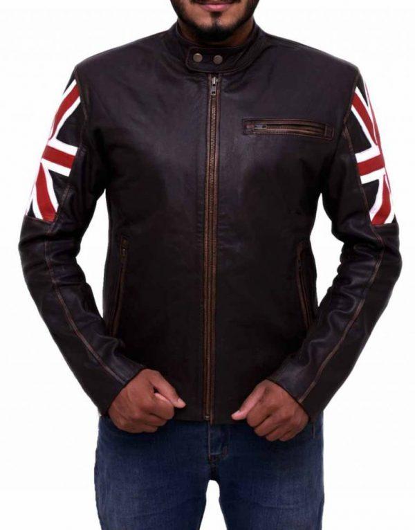 UK Flag Cafe Racer Leather Jacket   Vintage UK Flag Brown Leather Jacket