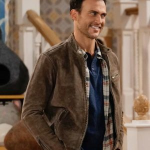 Max Call Me Kat Cheyenne Jackson Brown Cafe Racer Leather Jacket