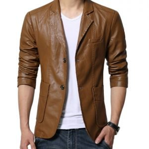 New Style Men's Slim Fit Glossy Brown Leather Blazer