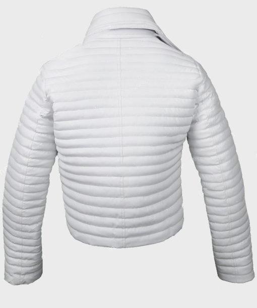 Woman-White-Puffer-Leather-Jacke