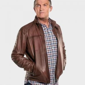 Graham O'Brien Doctor Who Bradley Walsh Brown Leather Jacket