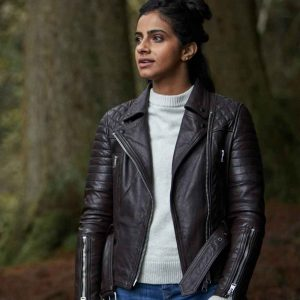 Yasmin Khan TV Series Doctor Who Mandip Gill Motorcycle Leather Jacket
