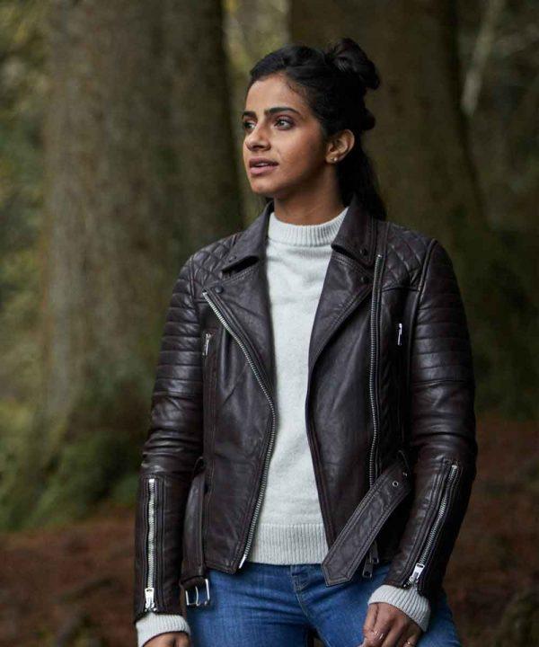 Yasmin Khan TV Series Doctor Who Mandip Gill Motorcycle Leather Jacket