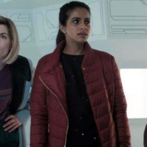 Yasmin Khan TV Series Doctor Who Maroon Puffer Mandip Gill Jacket