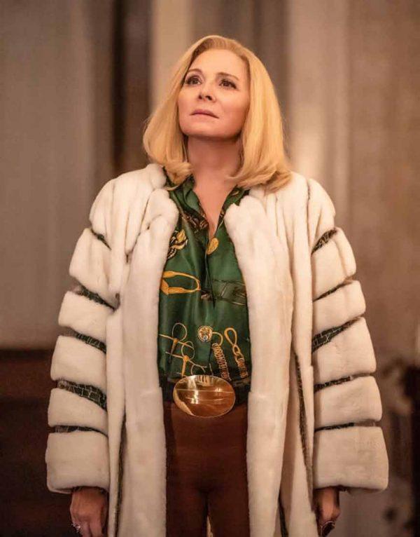 Margaret Monreaux Filthy Rich Kim Cattrall Faux Fur Trench Coat