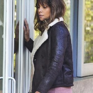 Halle Berry Shearling Brown Aviator Real Leather Jacket