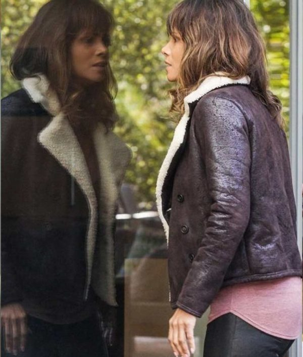 Aviator Brown Halle Berry Extant Fur Shearling Leather Jacket