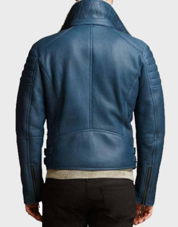 Men's Blue Shearling Leather Jacket