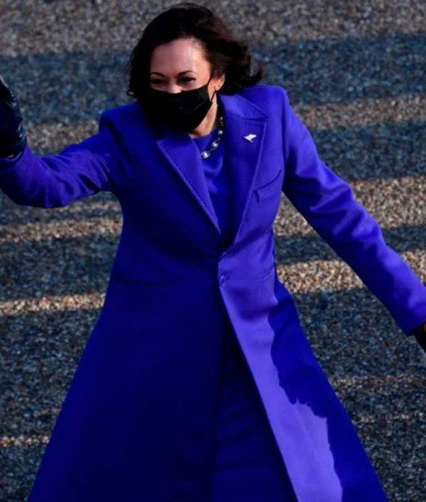 Kamala Harris Blue Trench Coat Kamala Harris Wool-blend Coat