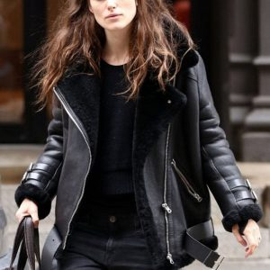 B3 Aviator Keira Knightley Black Shearling Real Leather Jacket