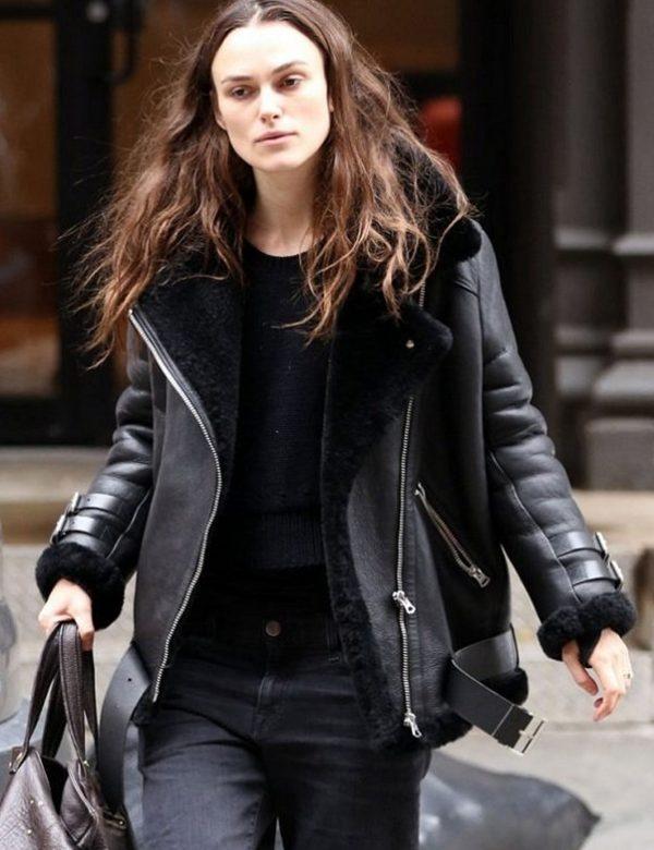 B3 Aviator Keira Knightley Black Shearling Real Leather Jacket