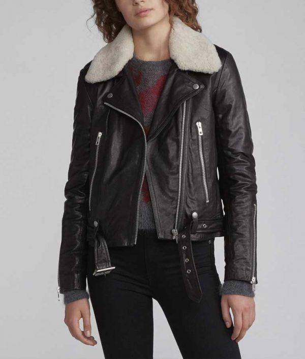 Zoe Chao Love Life Sara Yang Black Motorcycle Leather Jacket