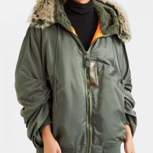 Sara Yang Love Life Zoe Chao Parka Bomber Style Jacket with Faux Fur Hood