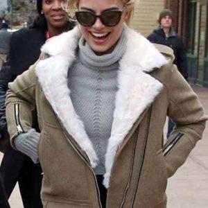 Margot Robbie Grey Aviator Fur Shearling Jacket