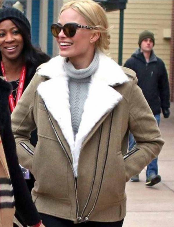 Margot Robbie Aviator Fur Jacket