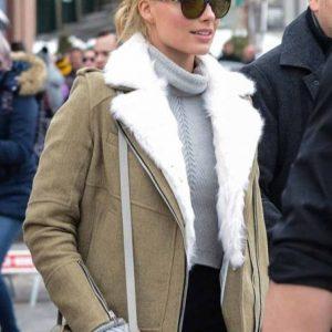 Margot Robbie Aviator Grey Fur Jacket for Women