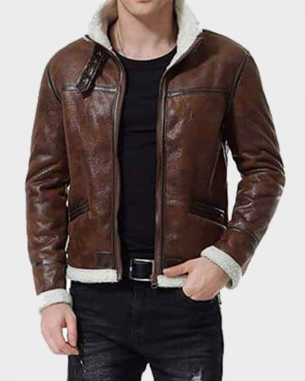 Mens Aviator Distressed Brown Leather Jacket with Shearling Collar