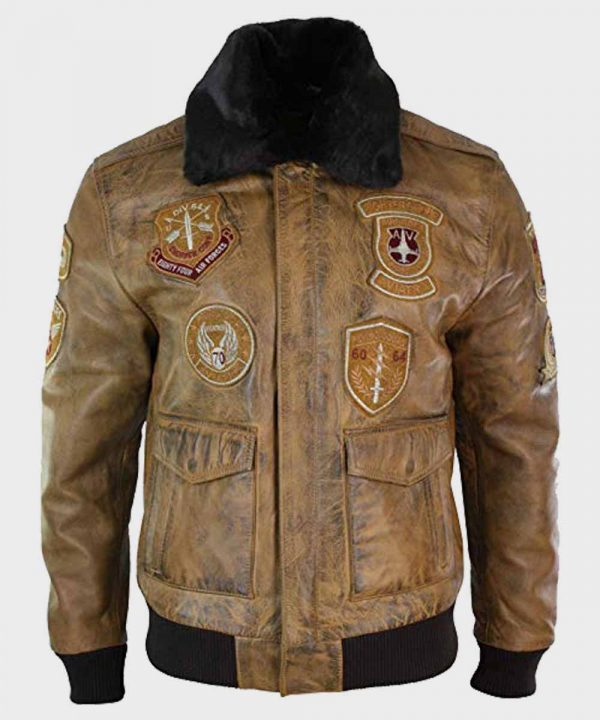 Mens Real Leather Aviator Tan Bomber Jacket with Patches