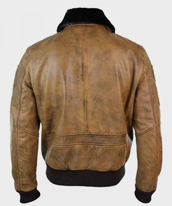 Mens Real Leather Aviator Tan Bomber Jacket