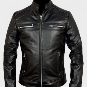 Classic Black Cafe Racer Mens Biker Leather Jacket