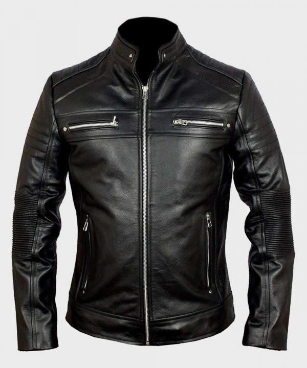Classic Black Cafe Racer Mens Biker Leather Jacket