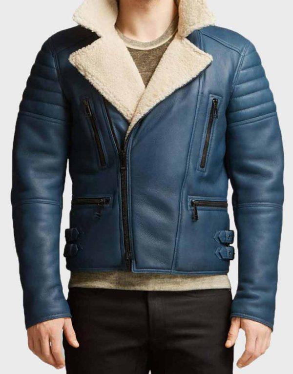 Handmade Men's Blue Biker's Shearling Leather Jacket